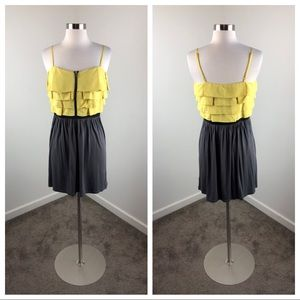 Elle yellow and gray colorblock mini dress